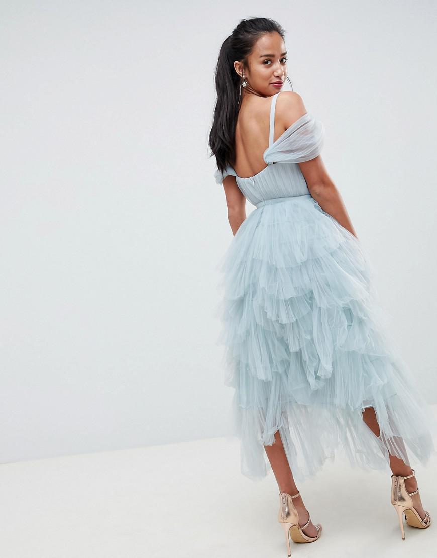 5e6fe4e5a4b8 True Decadence Premium Layered Tulle Cami Midi Dress in Gray - Lyst