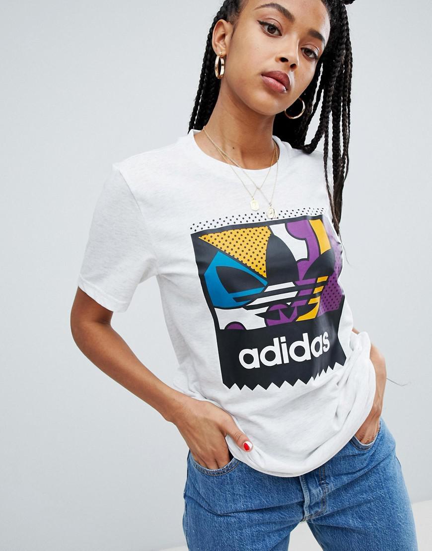 8e6997aad97 Adidas Originals Multi Colour Trefoil Logo T-shirt In White in White ...