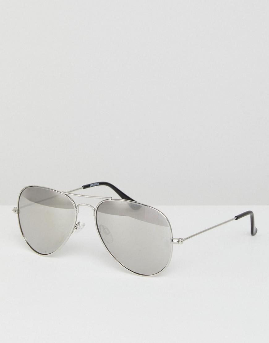44d2eb1858 ASOS Aviator Sunglasses In Silver With Silver Mirrored Lens in ...