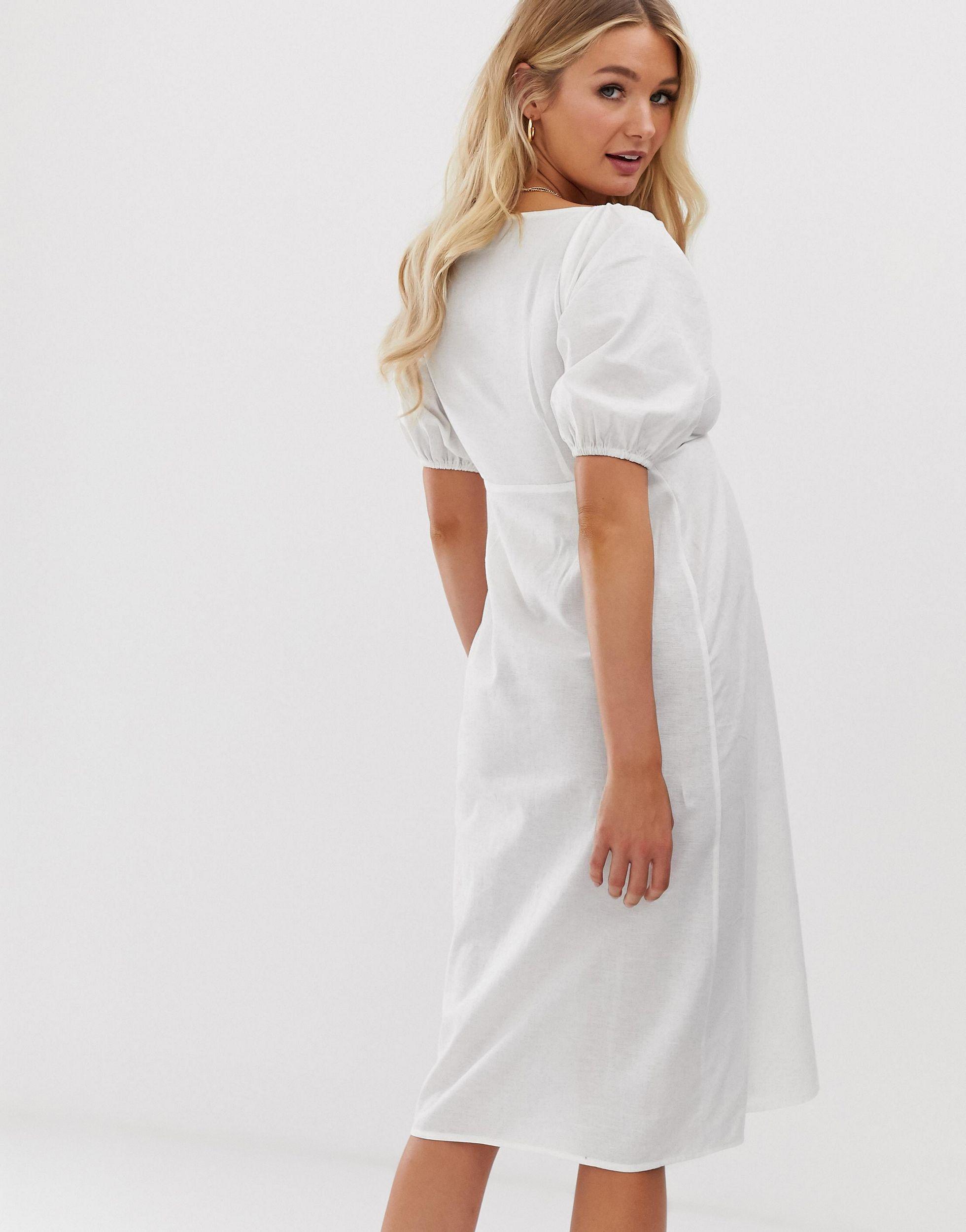 Vestido midi con botones y lazo anudado en la parte delantera ASOS de Algodón de color Blanco