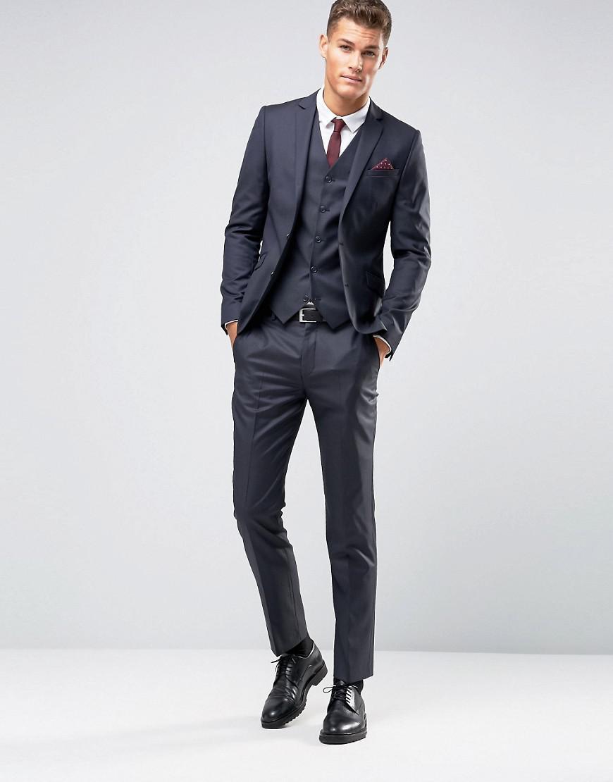 ASOS Slim Suit Jacket In Navy 100% Wool in Blue for Men
