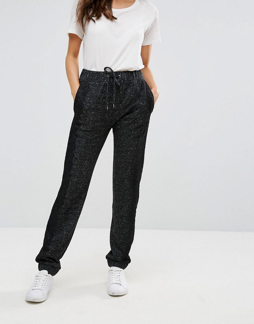 French Connection Synthetic Douglas Lace Trimmed Joggers in Black