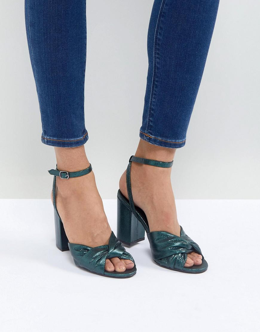 Shimmer Knot Block Heel Sandal - Blue New Look wvjWfB1