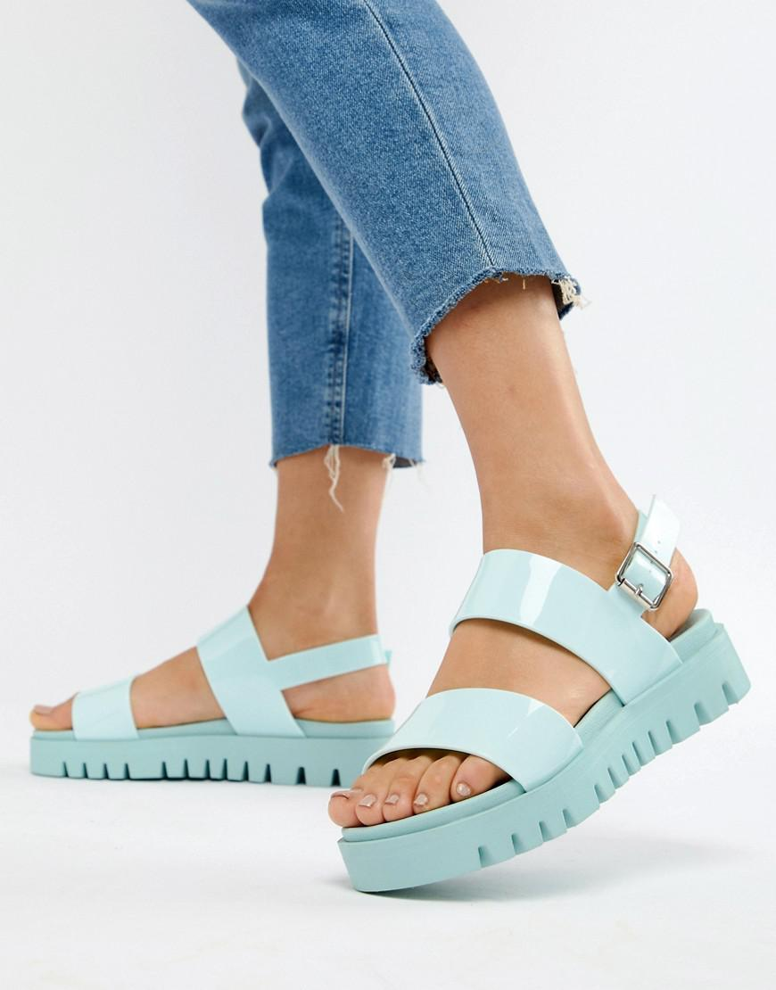 e07b099721a8f Lyst - ASOS Fadey Chunky Jelly Flat Sandals in Blue