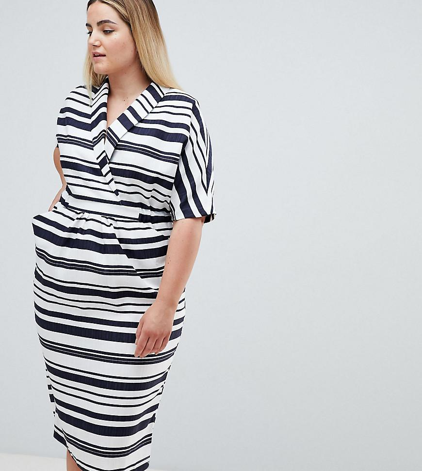 b51b6321c20 Lyst - ASOS Asos Design Curve Stripe Midi Dress With Pockets in Blue