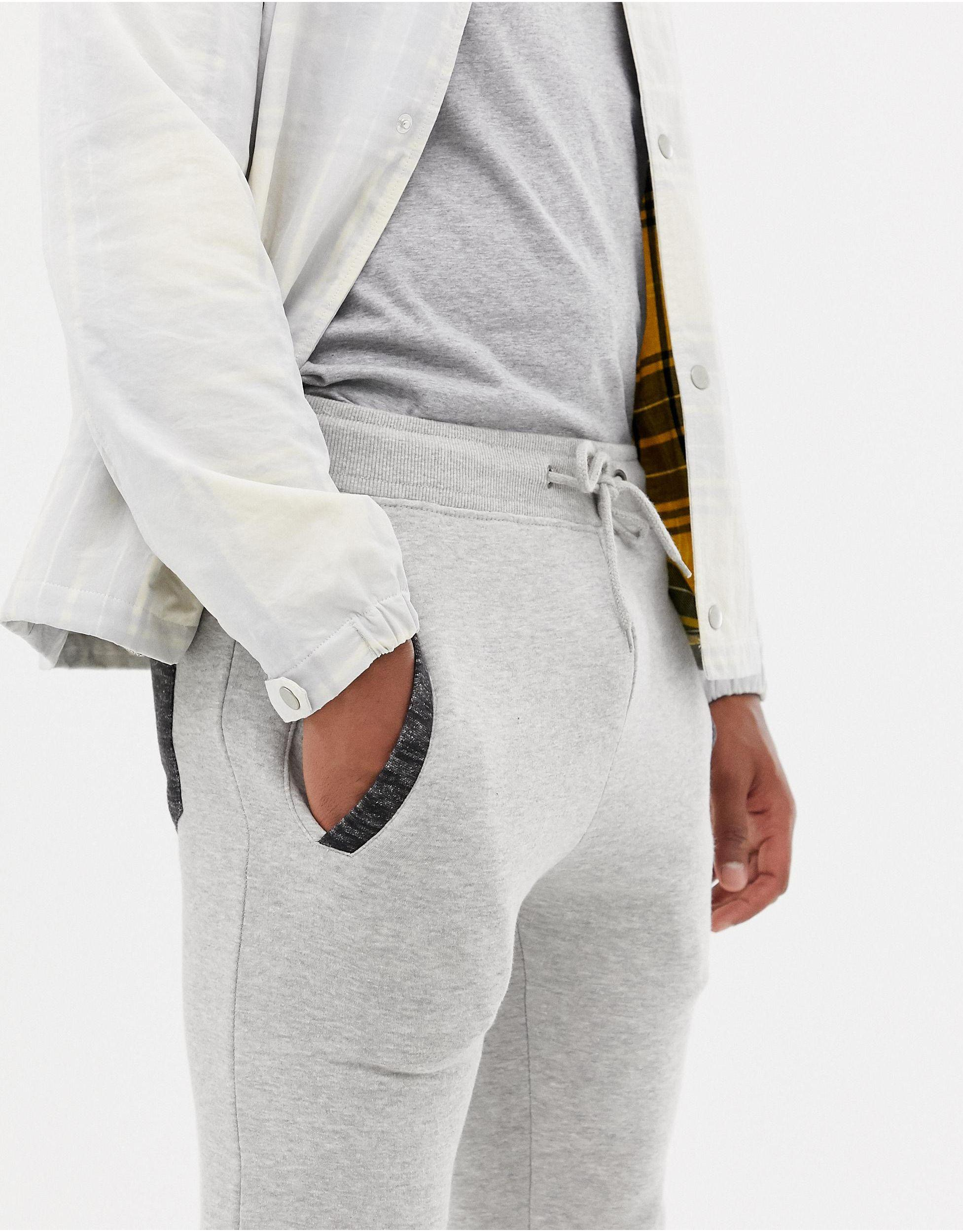 Another Influence Denim Slim-fit joggingbroek in het Grijs voor heren