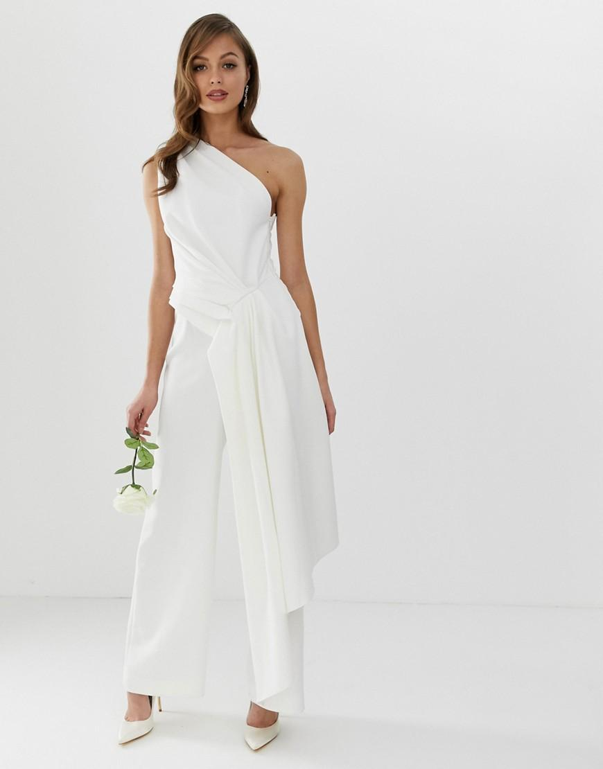 37ef43ab96bca0 Lyst - ASOS One Shoulder Drape Side Jumpsuit in White