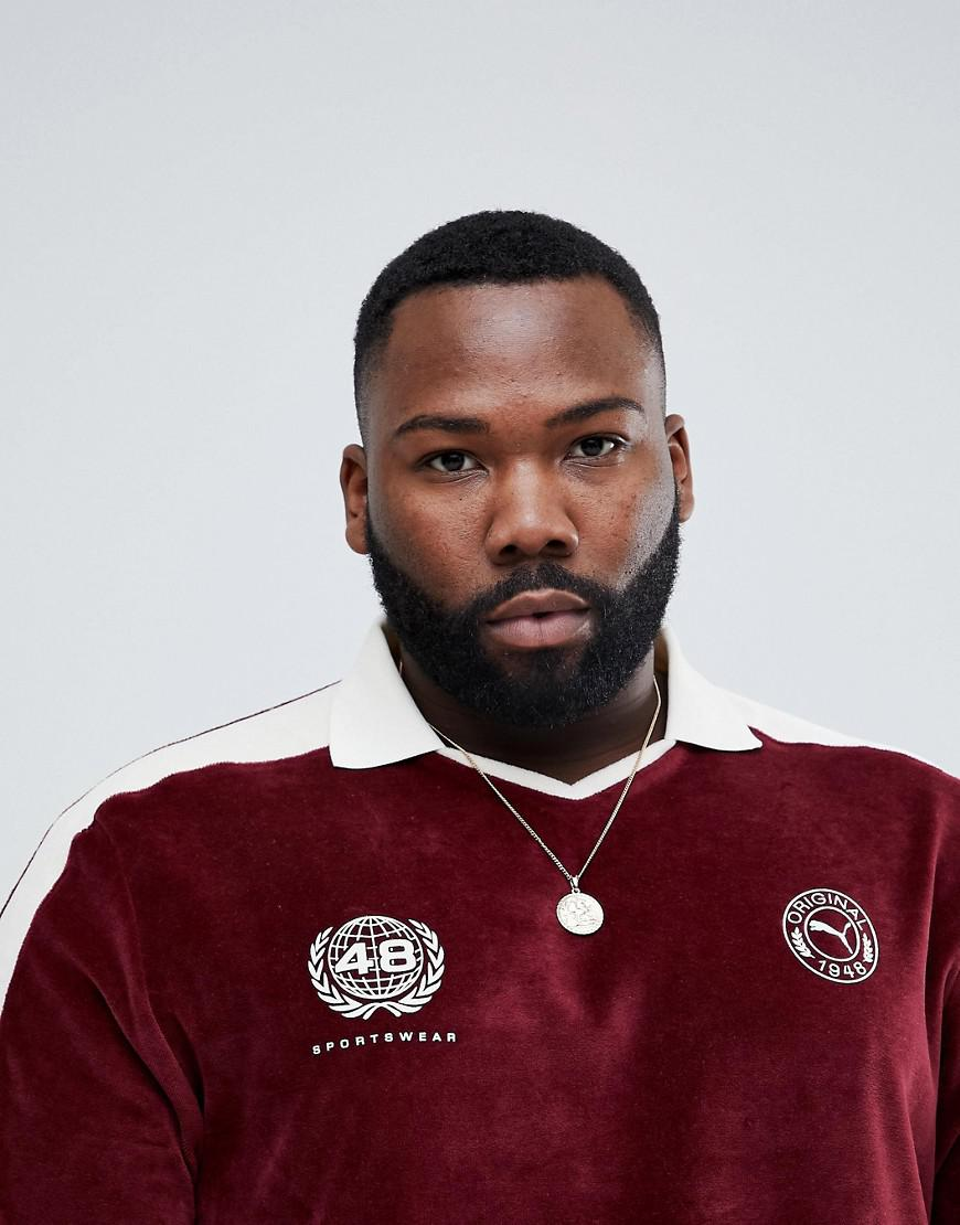 b1aaa4b74c99 PUMA Plus Velvet Football Polo Shirt In Burgundy Exclusive To Asos ...