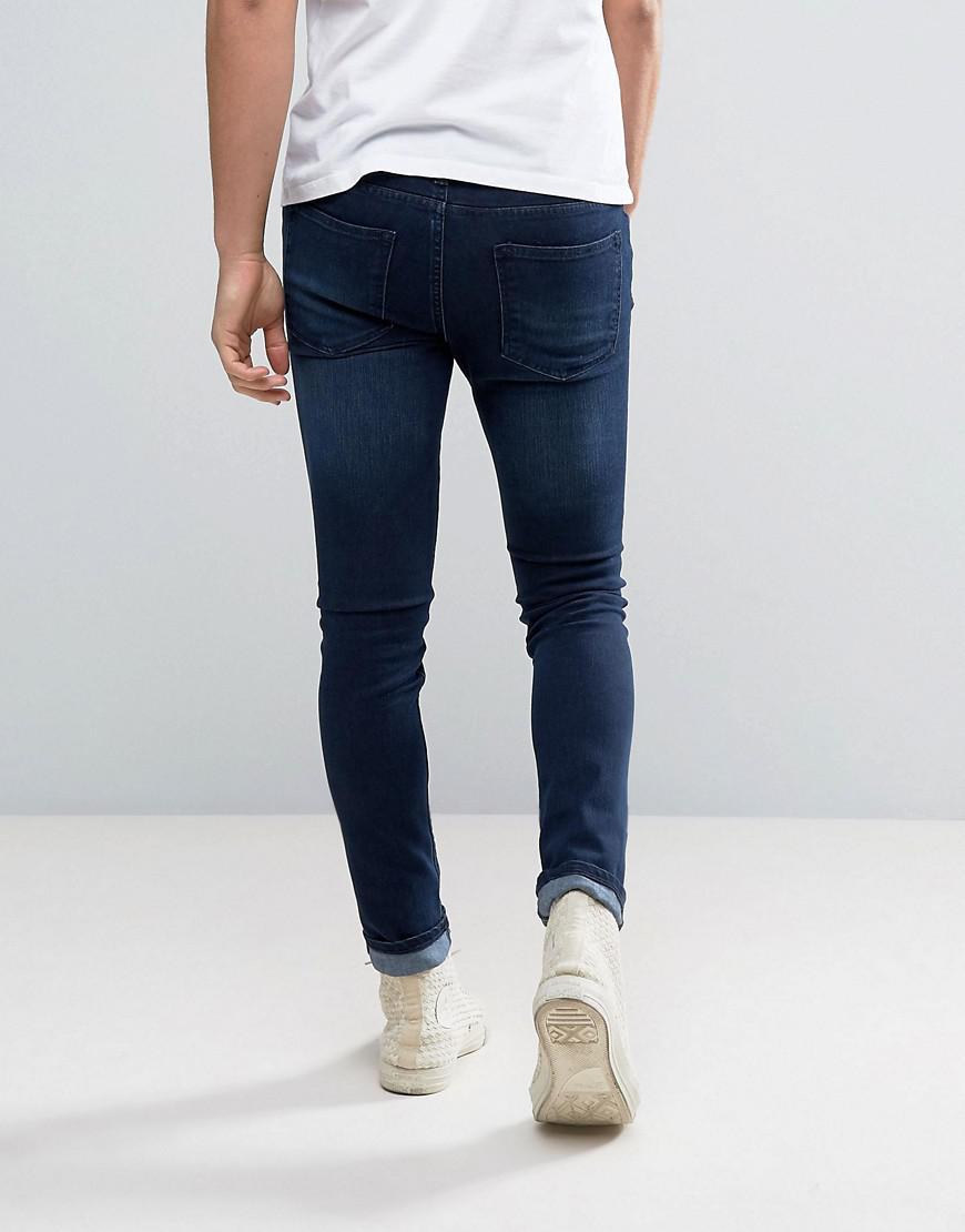 WÅVEN Denim Super Skinny Spray On Jeans In Worn Rinse in Blue for Men