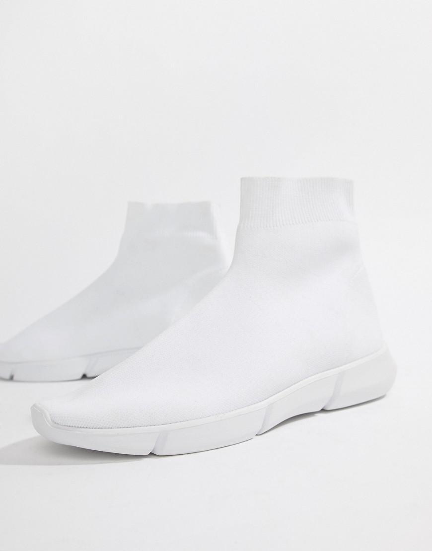 ASOS Slip On Sock Sneakers In White