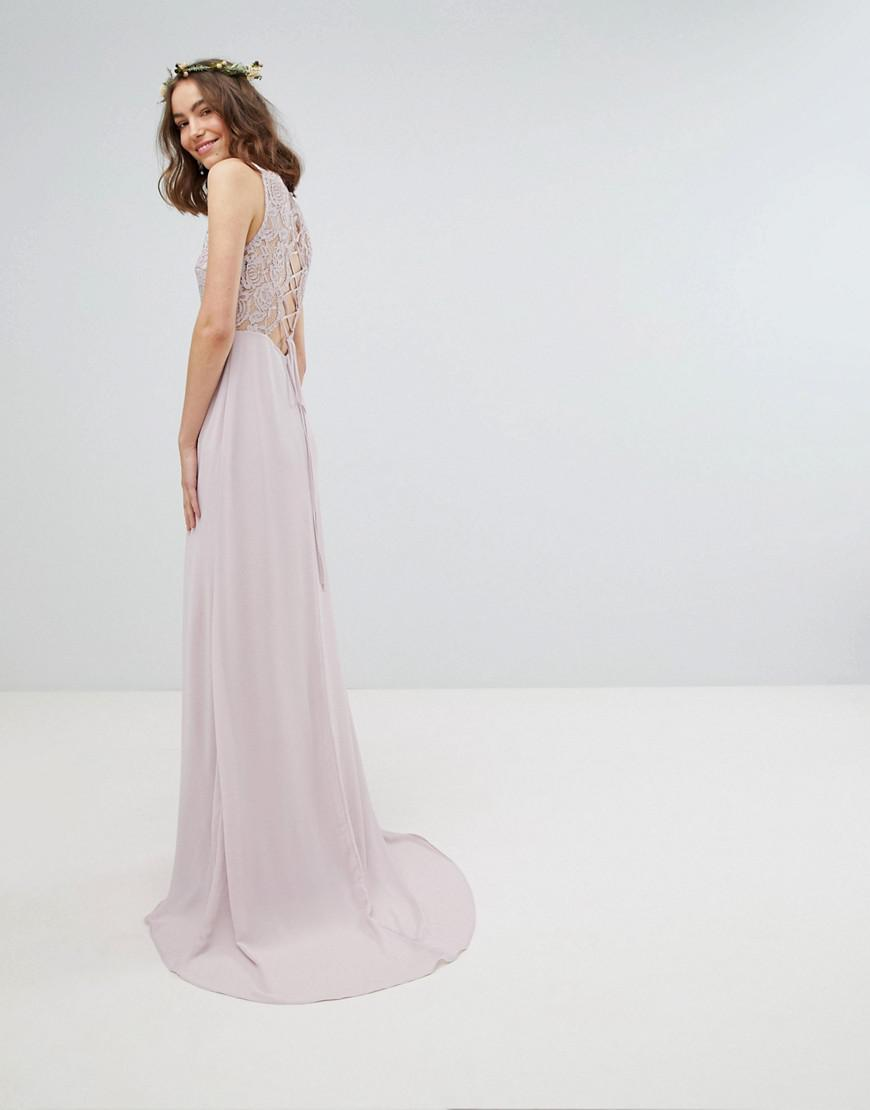 837a86b0fd9 Tfnc Tall Wrap Front Maxi Bridesmaid Dress With Embellished Shoulder ...
