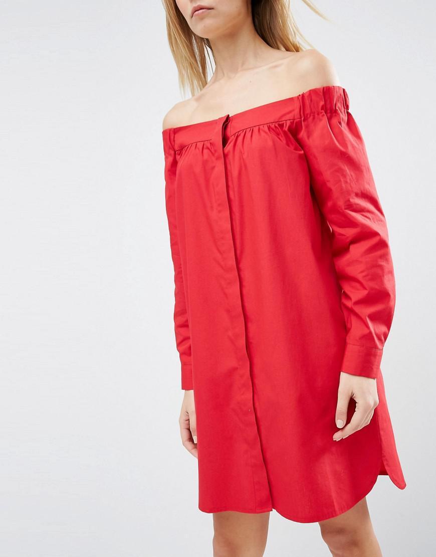d5c5fc11b5d3 Lyst - Asos Off Shoulder Shirt Dress in Pink