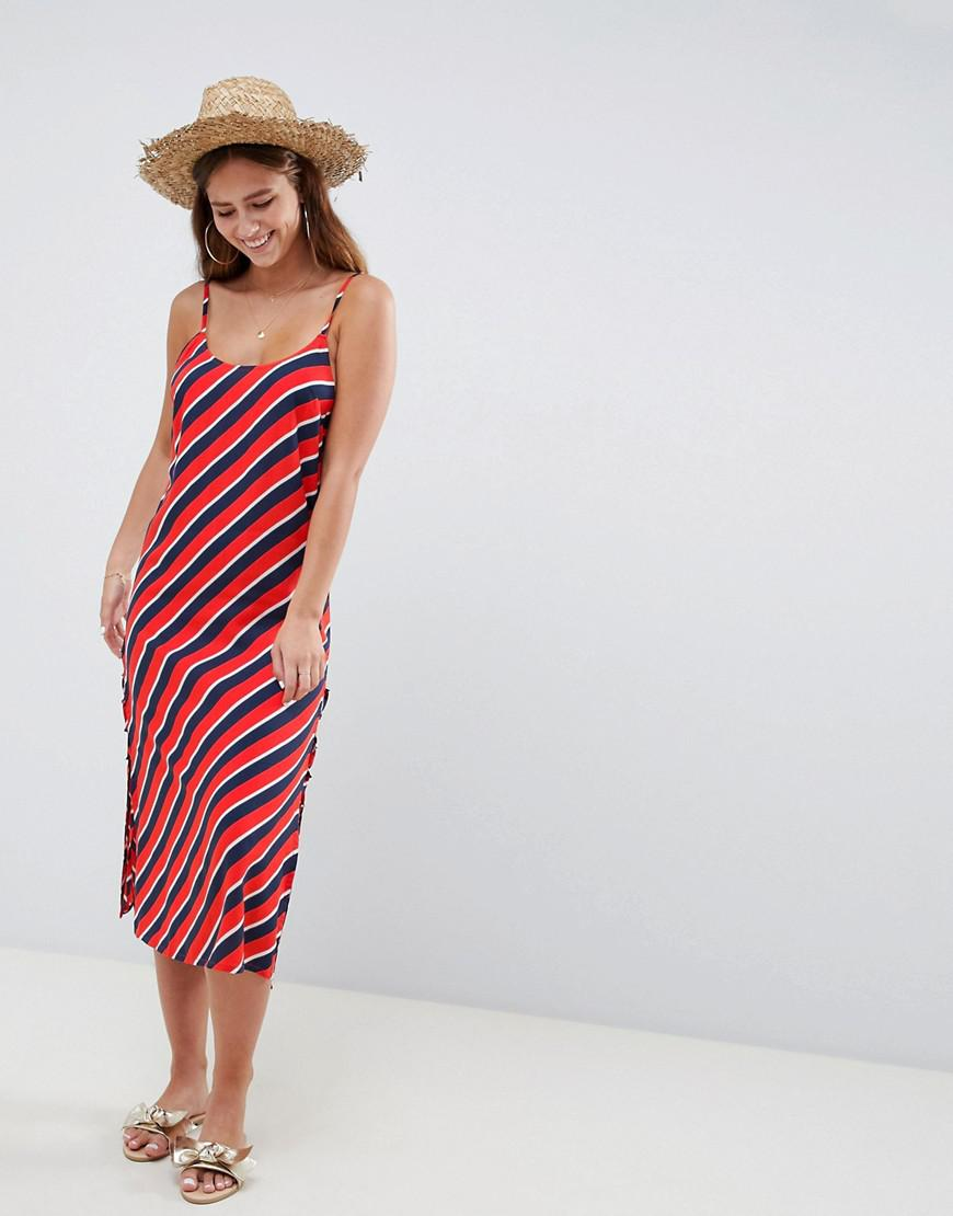 3308eb0b51 Lyst - ASOS Stripe Print Lace Up Side Beach Dress in Red