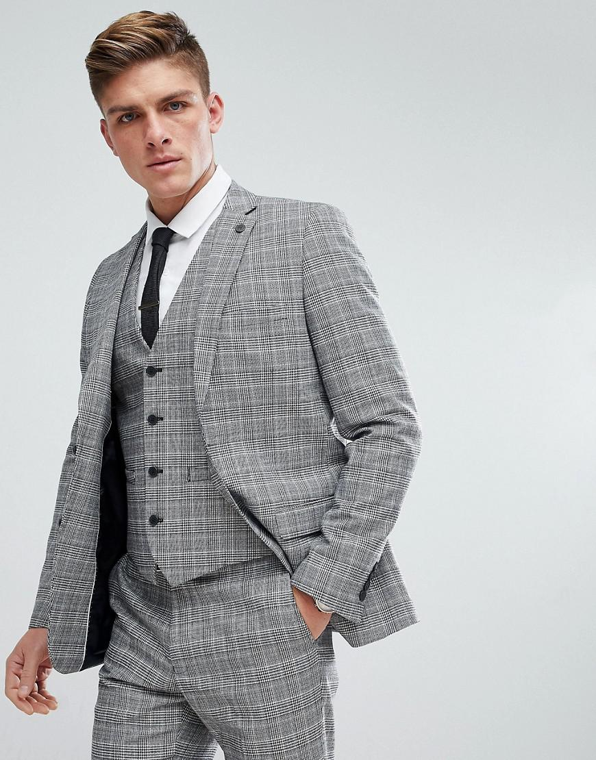 ac7ed7f8847 French Connection Prince Of Wales Blue Check Slim Fit Suit Jacket in ...