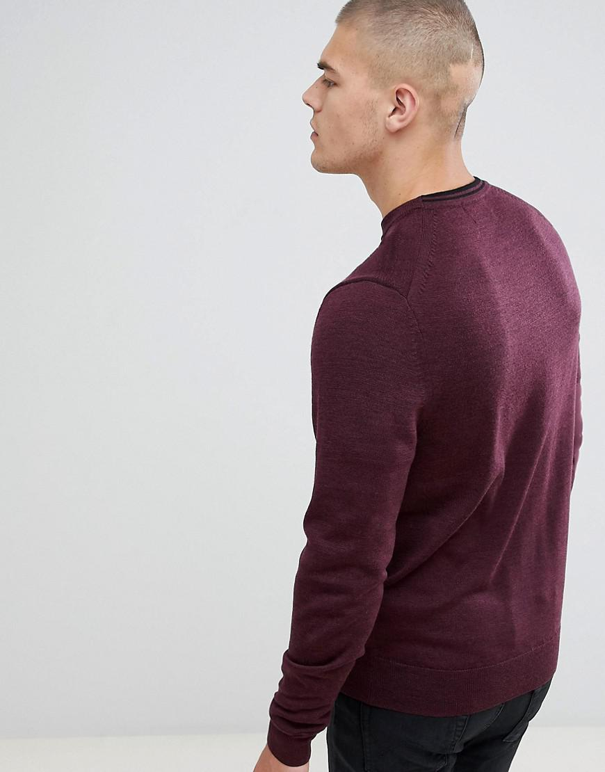 3e69dab1902b2b Lyst - Fred Perry Crew Neck Merino Knitted Jumper In Burgundy Marl ...