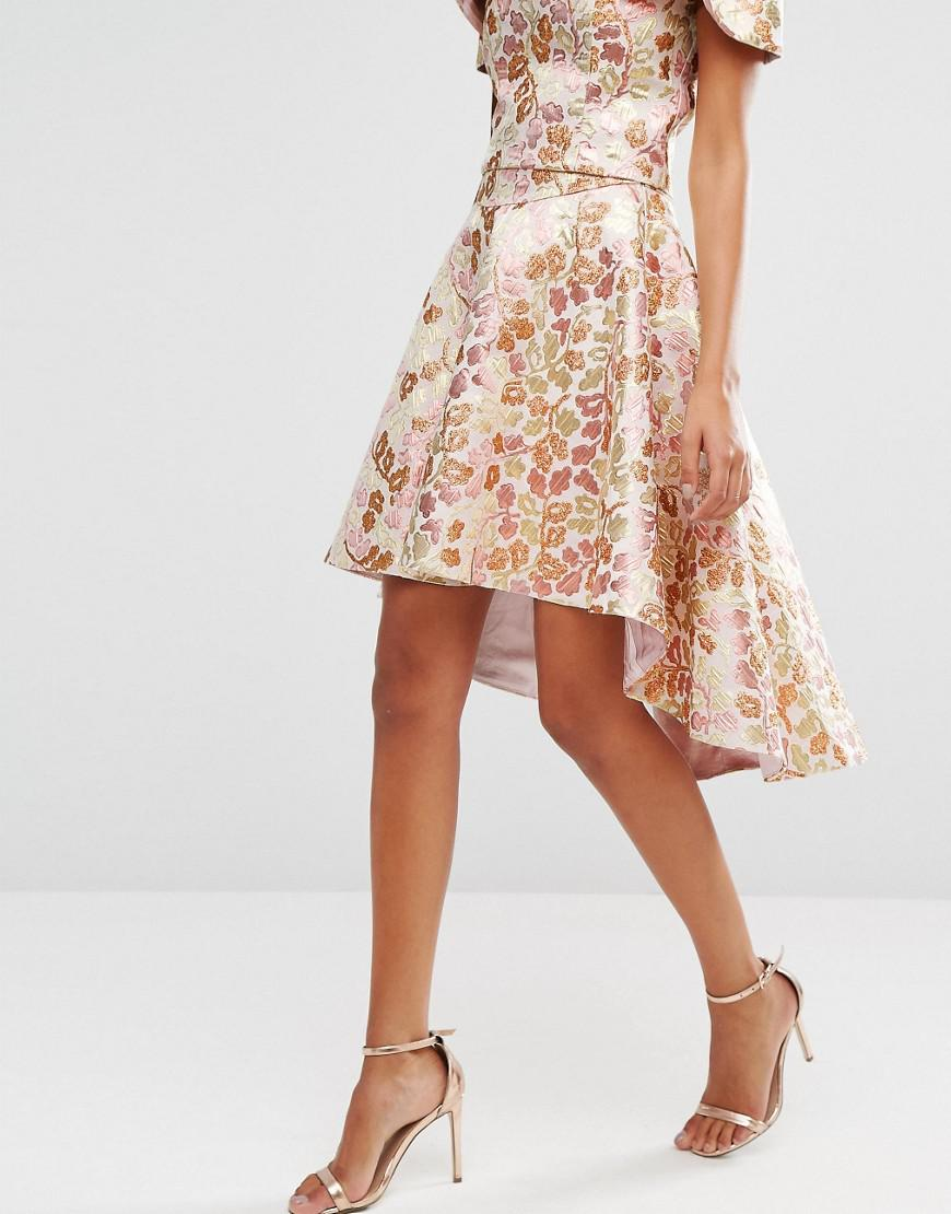 97e05cf4898 Lyst - Chi Chi London Chi Chi High Low Skirt Co-ord In Rose Gold ...