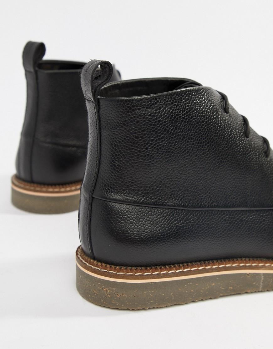 Botas en negro con acabado granulado y cordones Dune de hombre de color Negro