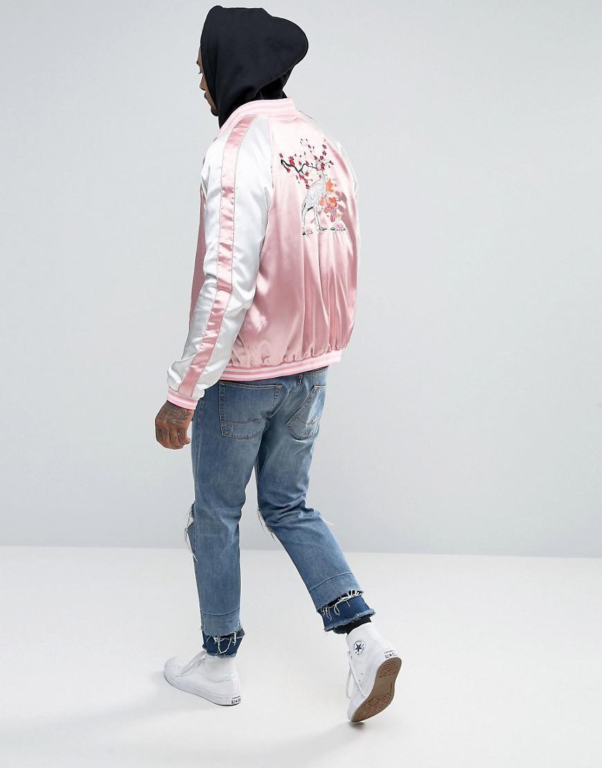 Liquor N Poker Synthetic Stork Embroidered Souvenir Bomber in Pink for Men