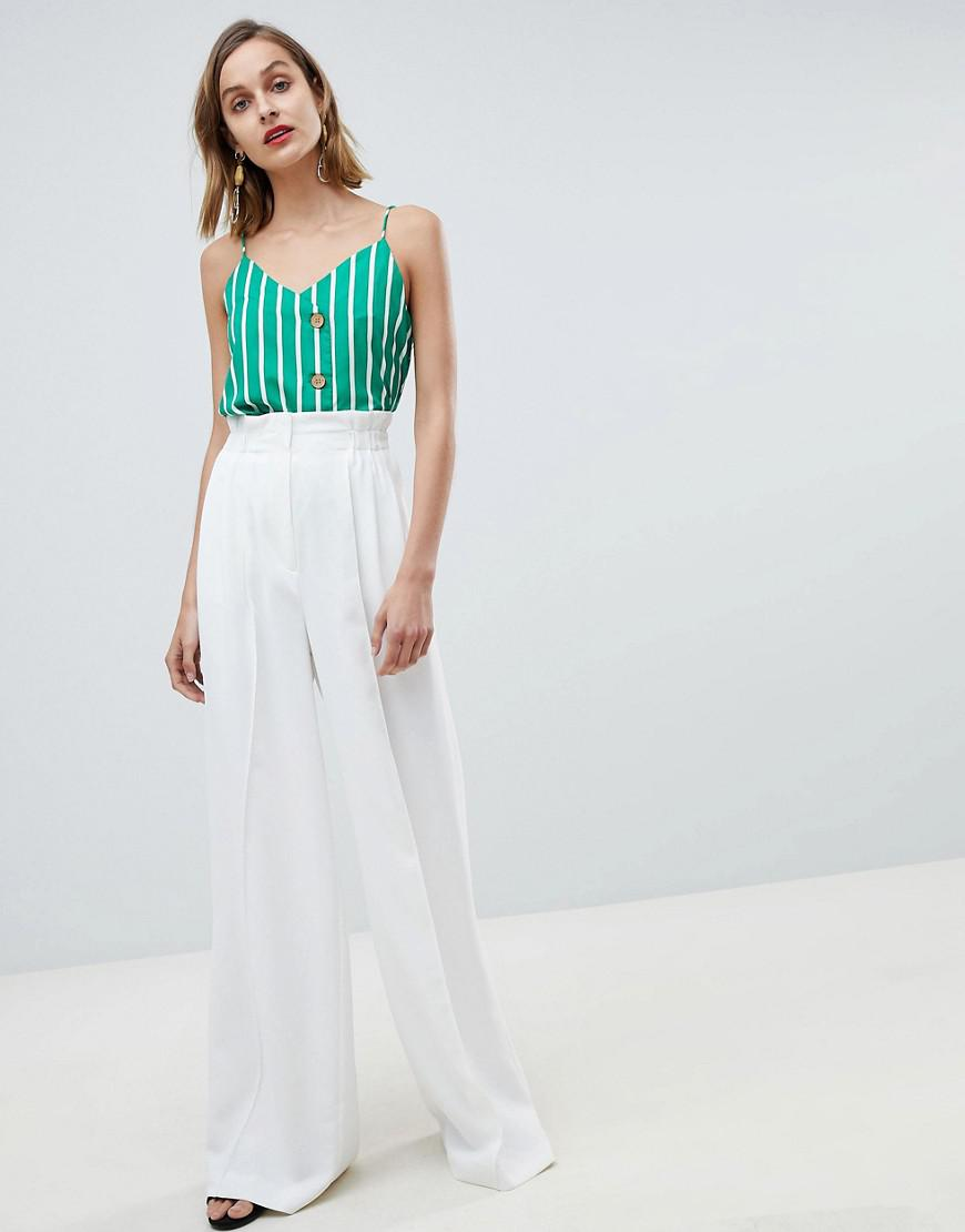 newest collection well known wholesale dealer Mango Denim Wide Leg Tailored Pants In White - Lyst
