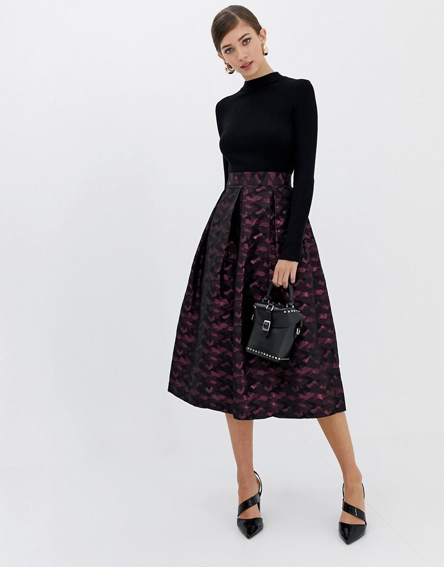 5d6e31ab87 Lyst - Closet Closet Camo Print Pleated Skirt in Purple