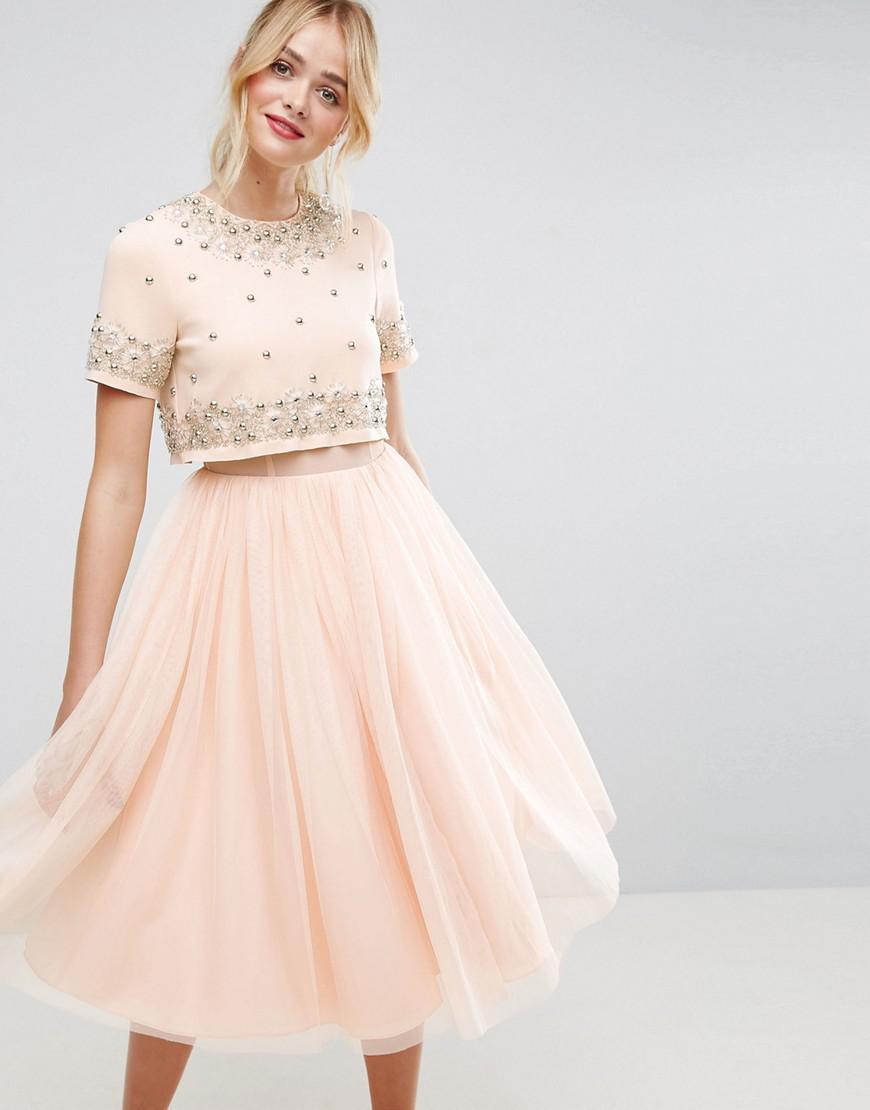 9ae69433fbd ASOS Embellished Crop Top Tulle Midi Dress in Pink - Lyst
