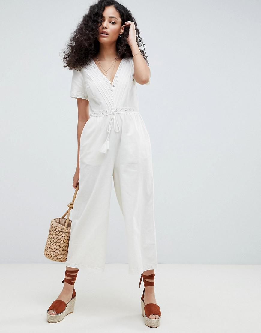 f2af50a7d90bd Lyst - ASOS Cotton Embroidered Jumpsuit With Tassel Trim