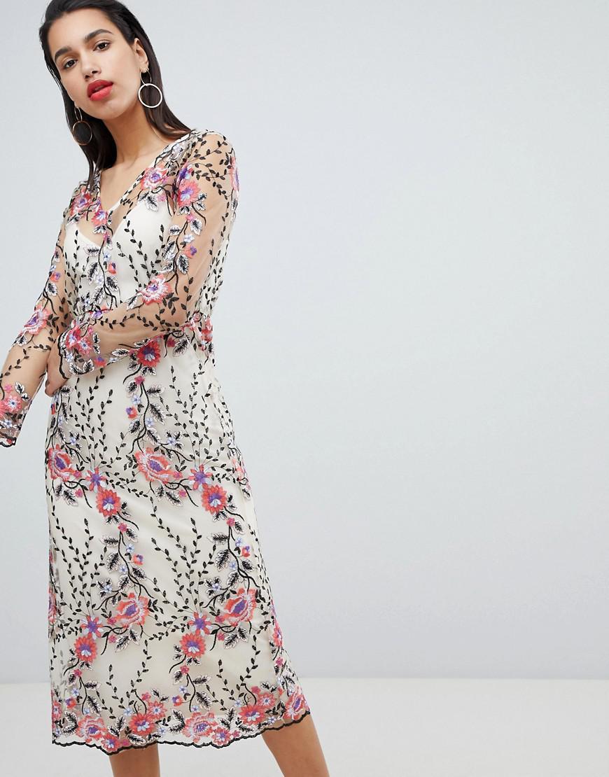 090302bbf01 Vila. Women's Embroidered Floral Midi Dress