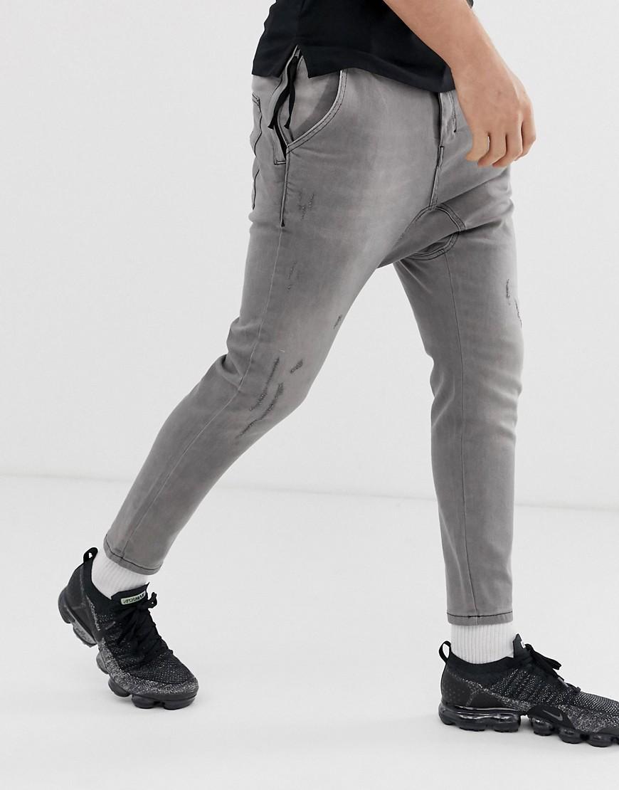 Religion Denim Cropped Skinny-jeans Van Stretch Stof Met Een Laag Kruis in het Grijs voor heren