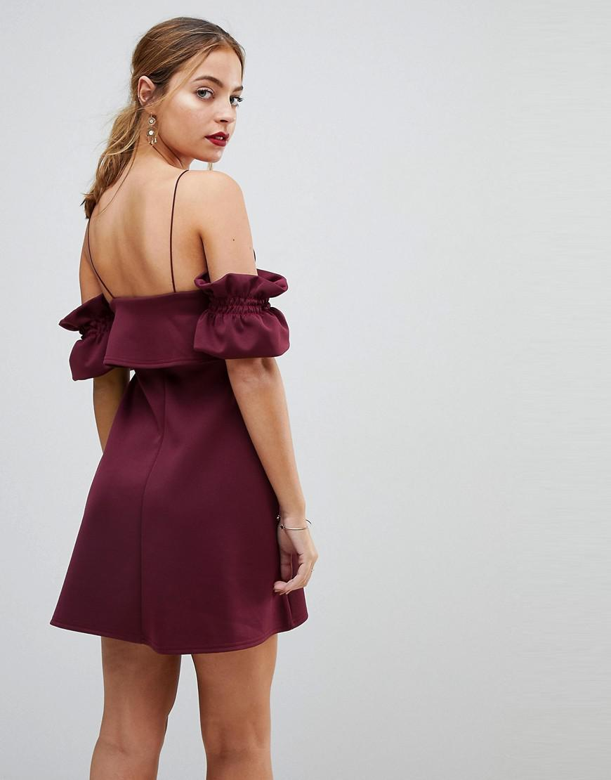 f7311f6d432a ASOS Crop Top Ruffle Sleeve Mini Dress in Purple - Lyst