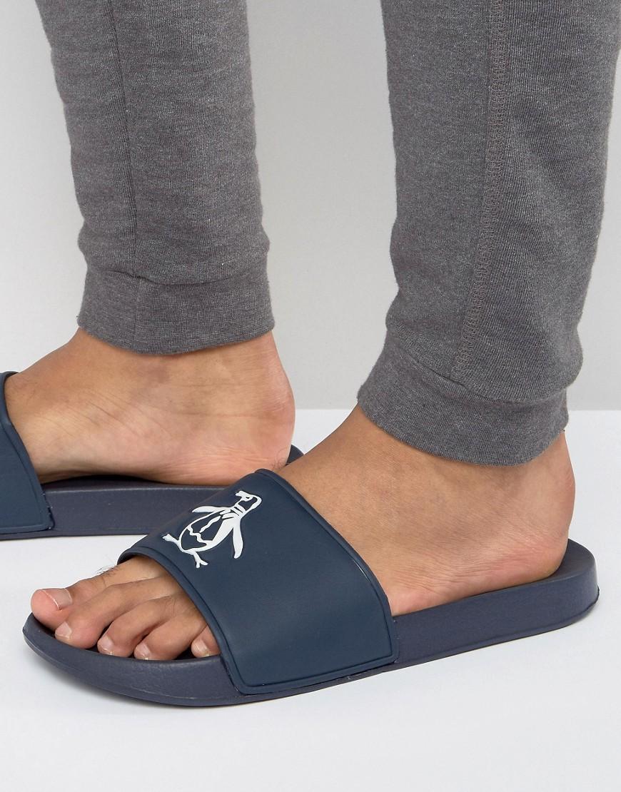 52031968457 Original Penguin Slider Flip Flops in Blue for Men - Lyst