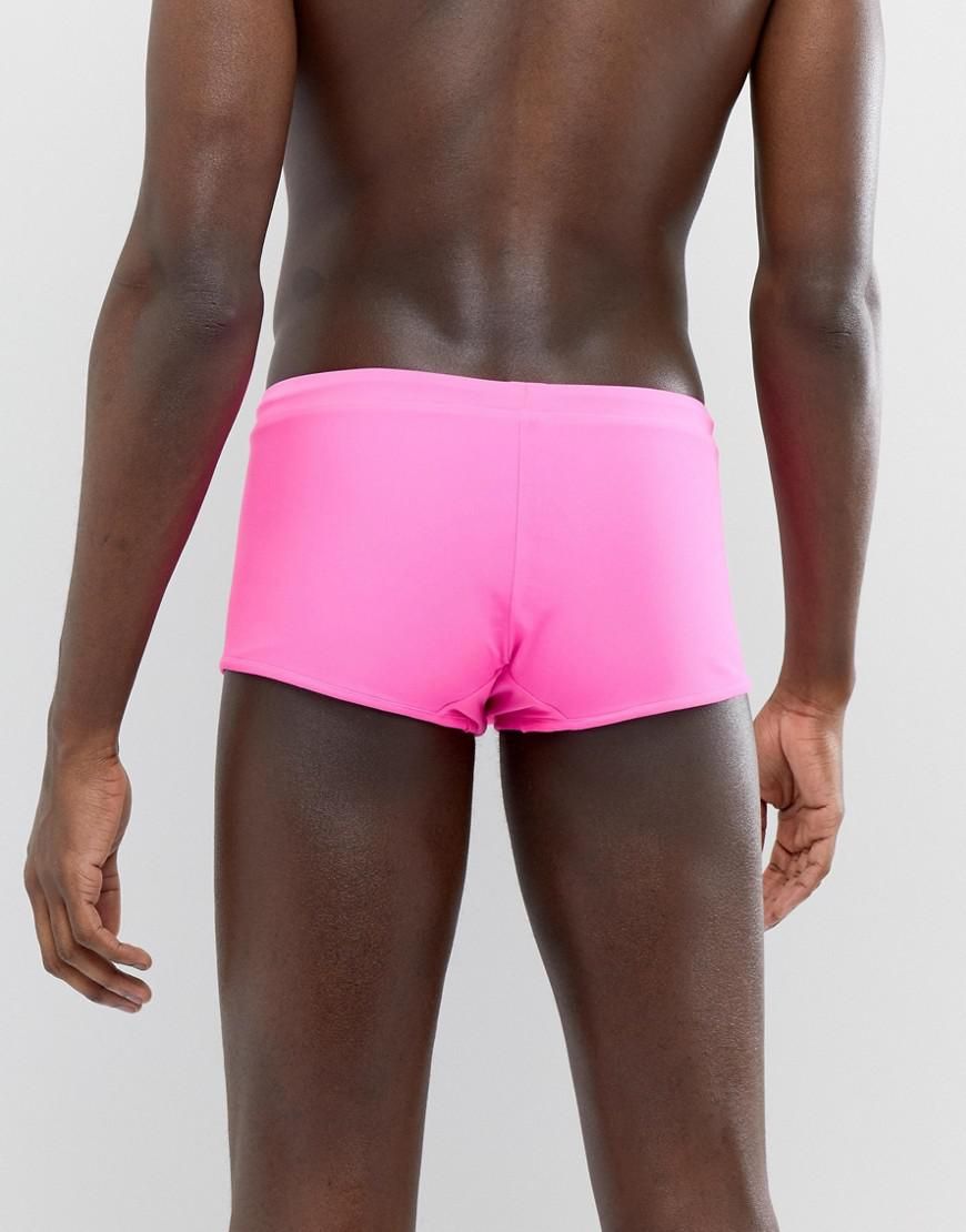 610732195a ASOS Reversible Swim Trunks In Black And Pink in Pink for Men - Lyst
