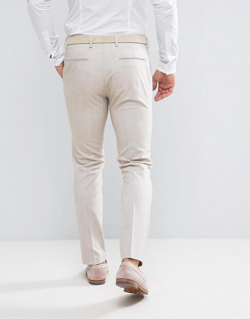 ASOS Synthetic Asos Wedding Skinny Suit Pant In Crosshatch Nep In Putty in Grey (Grey) for Men