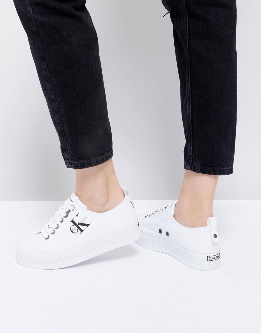 latest fashion stable quality best sneakers Calvin Klein Zolah White Canvas Flatform Trainers - Lyst