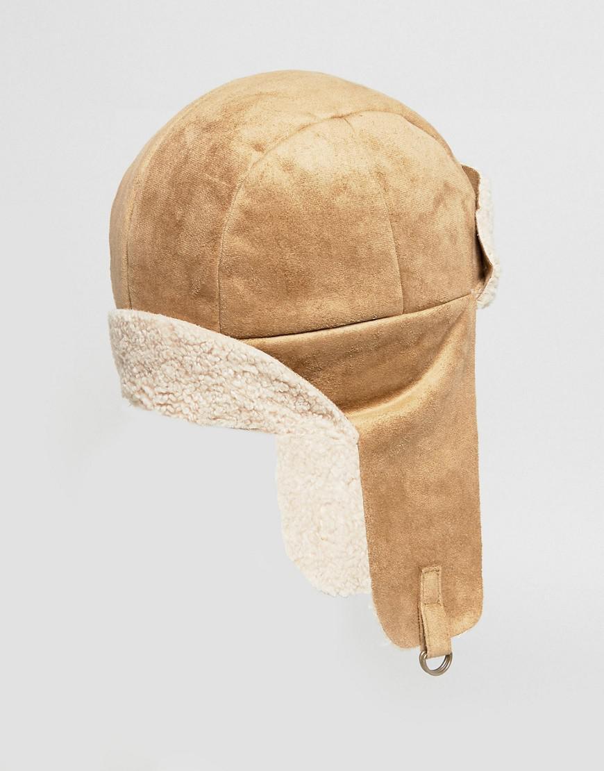 Faux Shearling Trapper Hat in Camel - Camel Kangol brmQQ