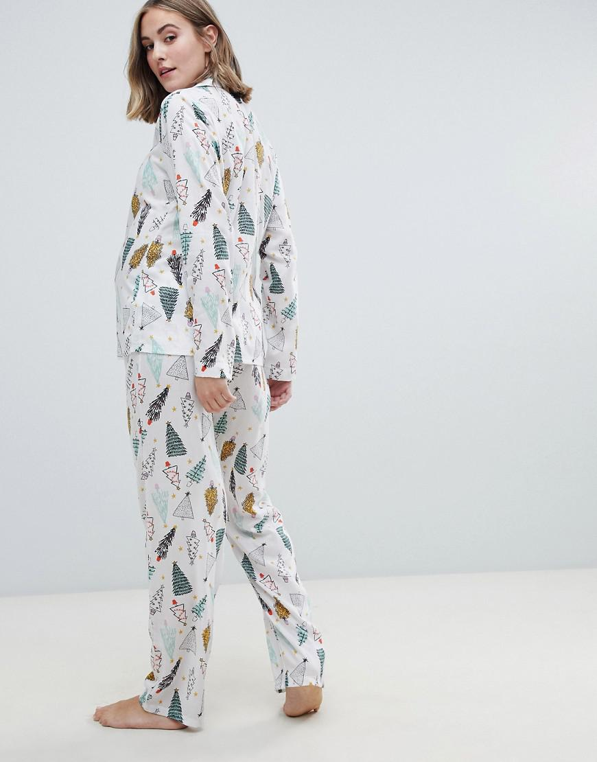 Lyst - ASOS Asos Design Maternity Christmas Tree Traditional Shirt And Pants  Pyjama Set In 100% Modal in White d540304ab