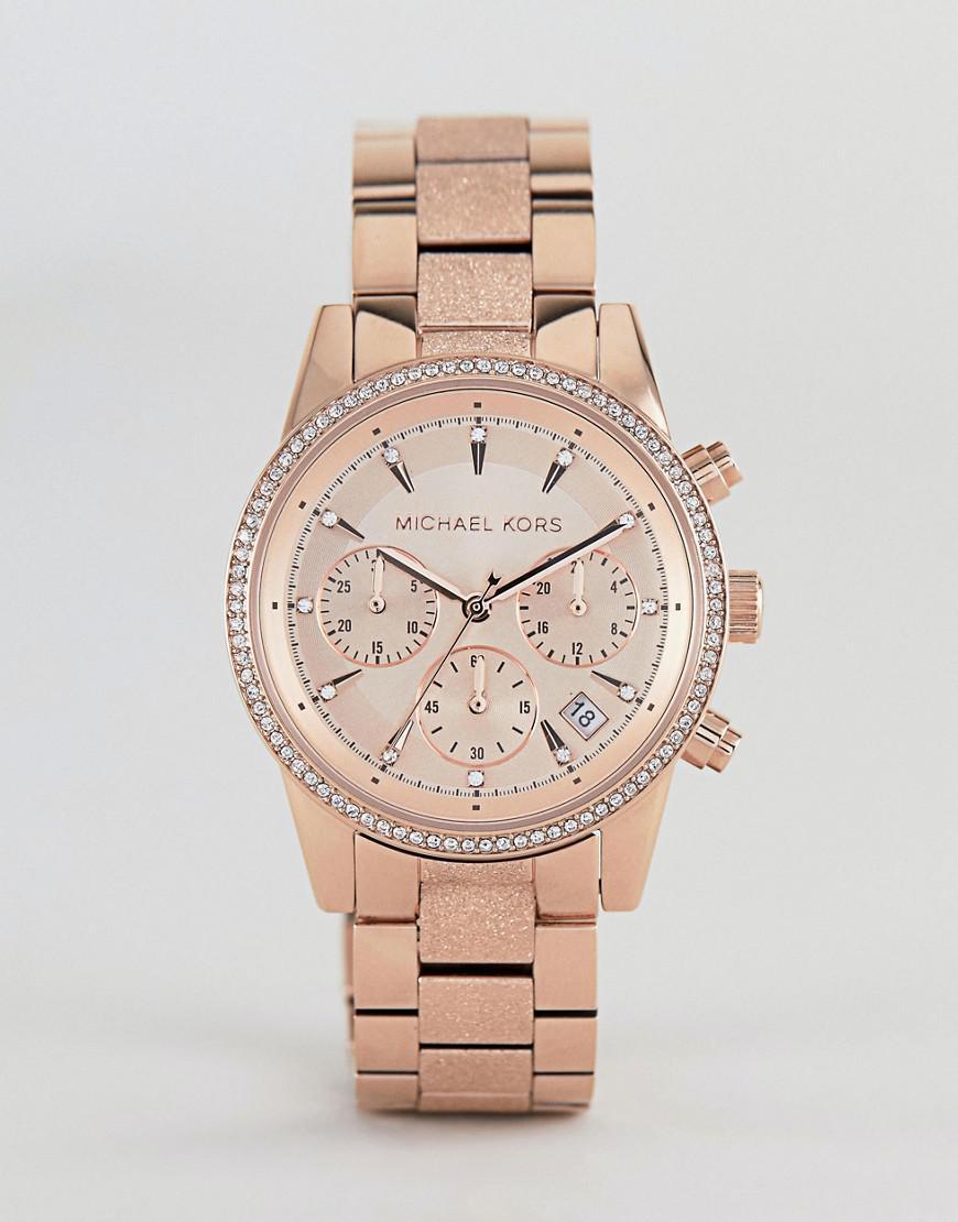 e4d0d1164fa3 Michael Kors Mk2752 Ritz Sofie Chronograph Bracelet Watch In Rose ...