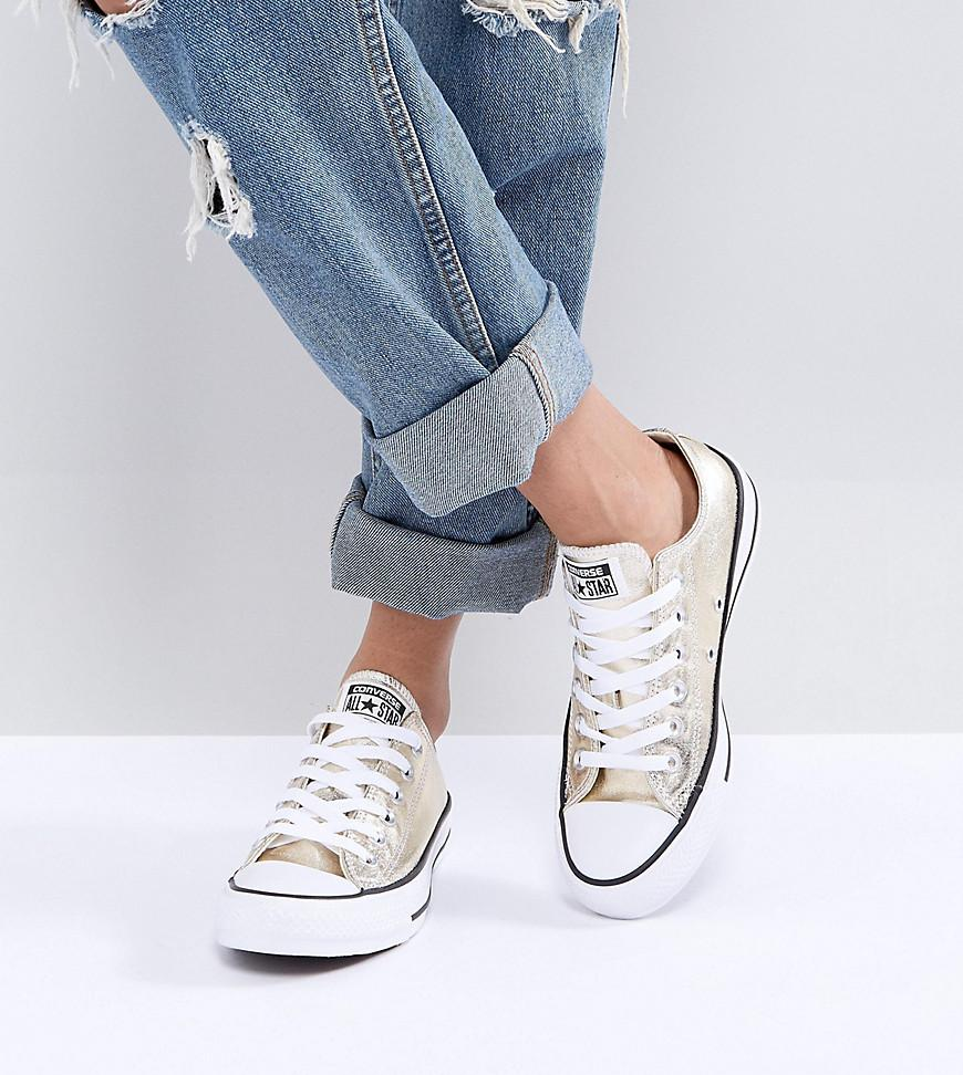 Converse Chuck Taylor Ox Trainers In Gold Metallic - Lyst