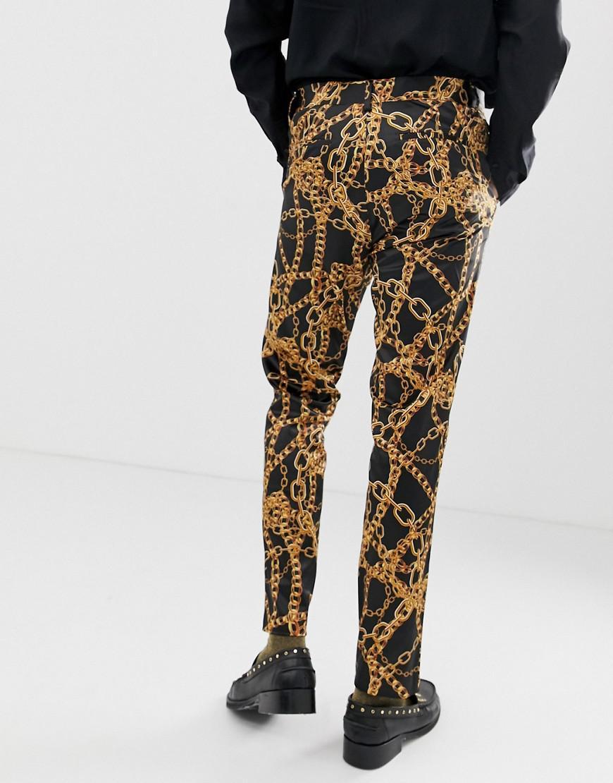 ASOS Synthetisch Skinny Pantalon Met Kettingprint in het Zwart voor heren