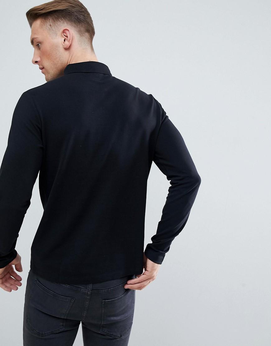 Jack Wills Denim Staplecross - Poloshirt Met Lange Mouwen In Zwart in het Zwart voor heren