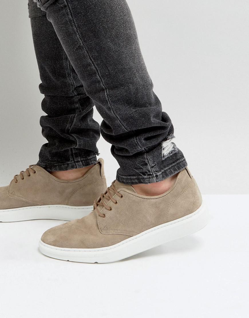 Casual Derby Shoes In Grey Suede With Ribbed Sole - Grey Asos zJtZLQn5n