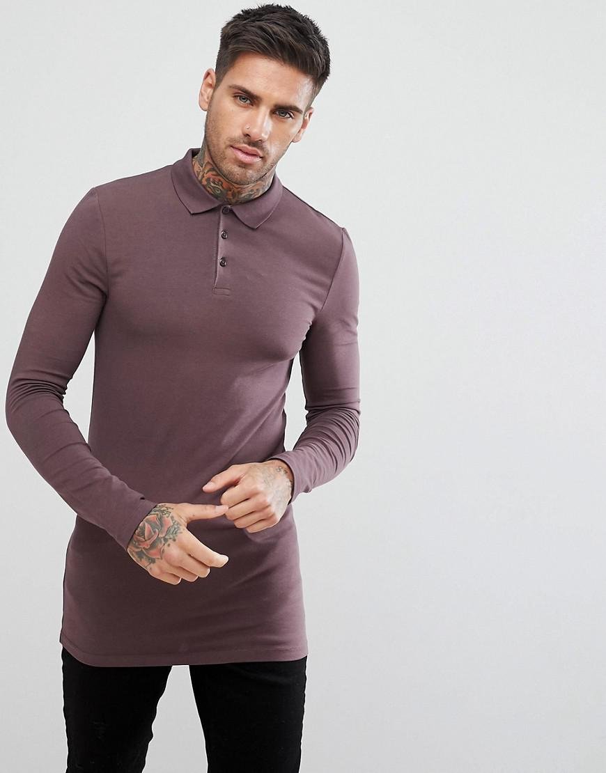 Lyst asos design longline muscle fit long sleeve polo in for Long sleeve purple polo shirt