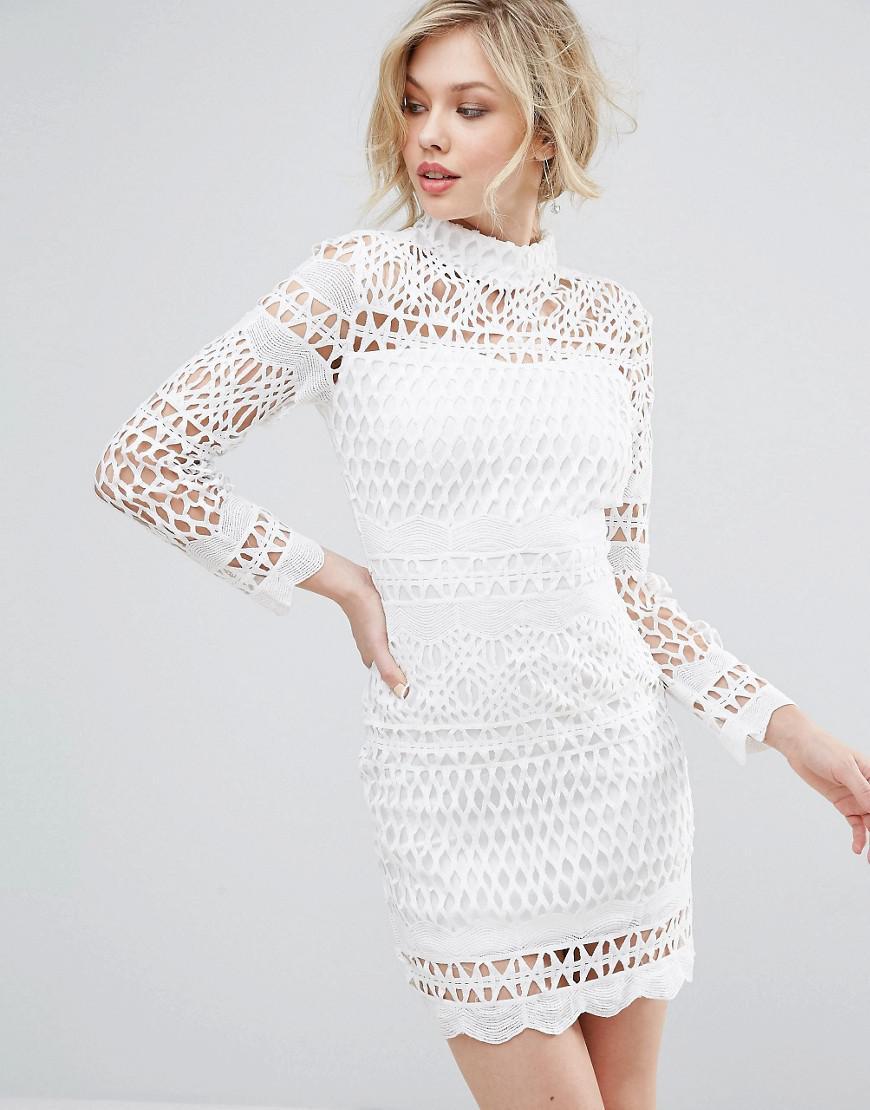 Club L Long Sleeve Crochet Detailed High Neck Dress In White Lyst