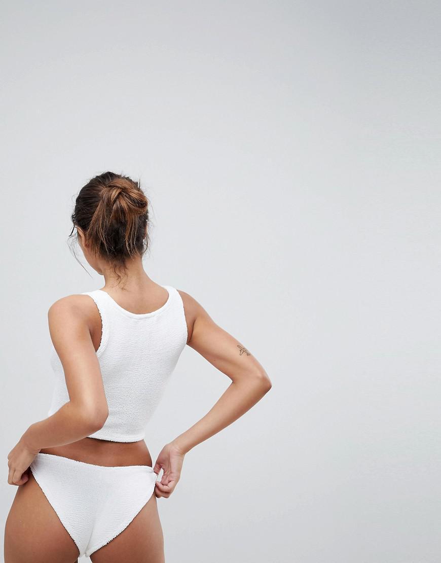 9058c2d3da Lyst - Hunza G Lattice Crinkle Crop Bikini Set in White