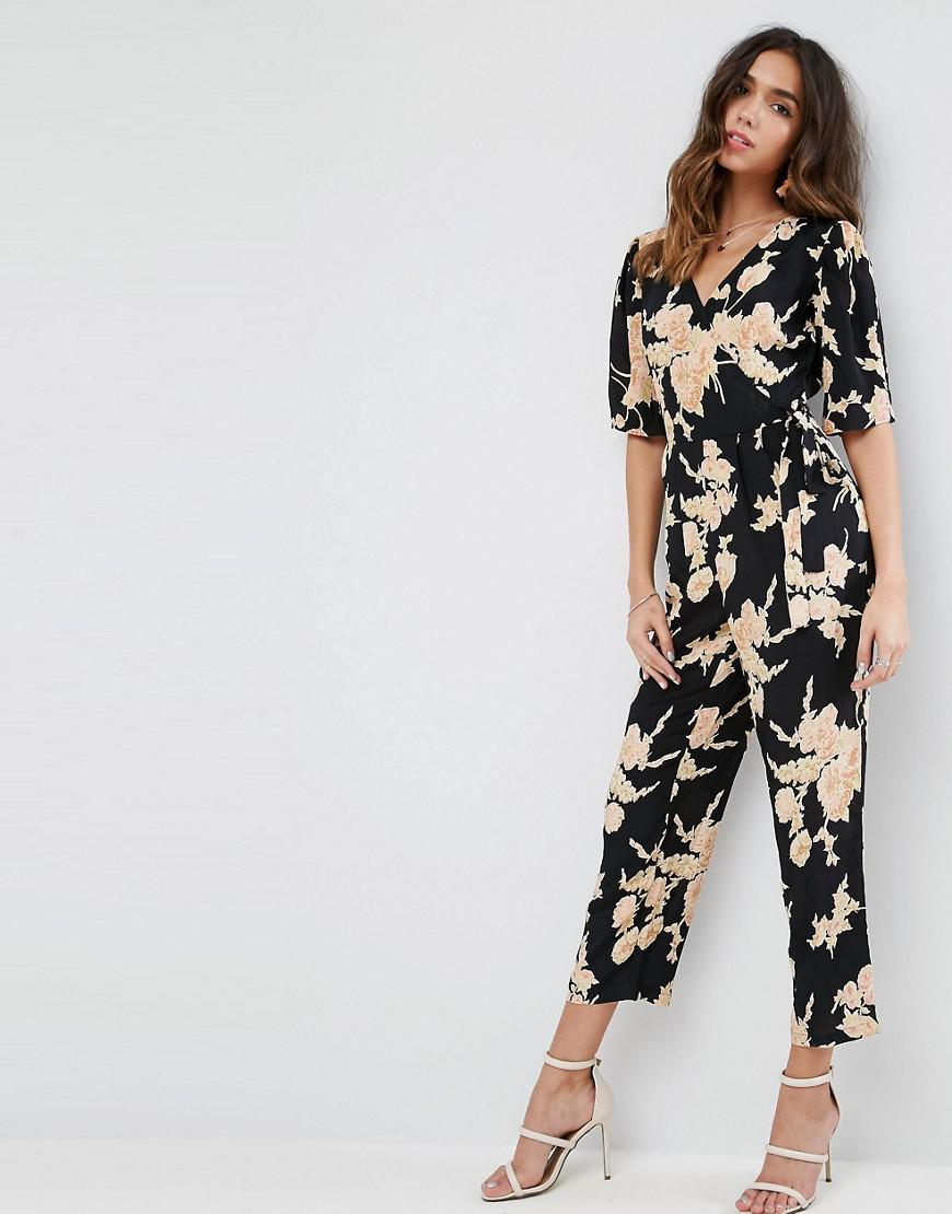 Lyst - Asos Jumpsuit With Wrap Front In Floral Print in Black