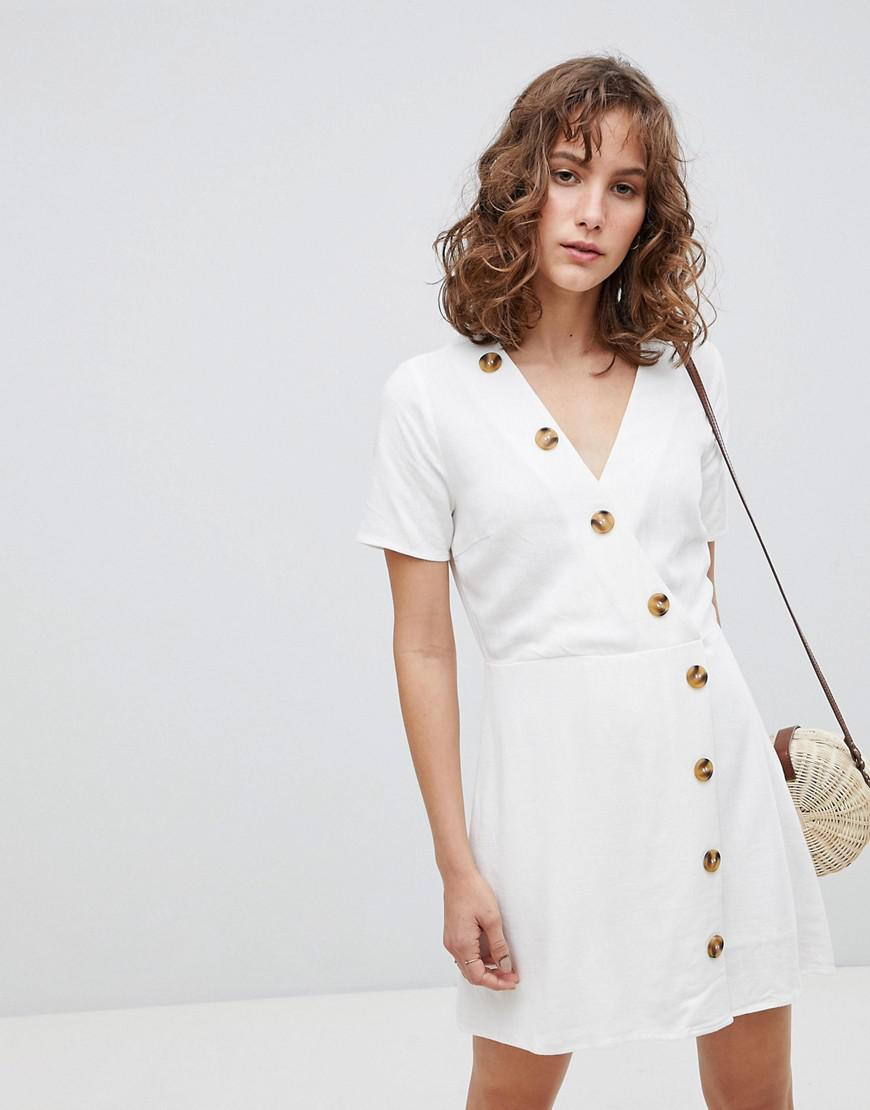 7e5b1ae674 Lyst - Moon River Linen Mix Button Front Dress in White