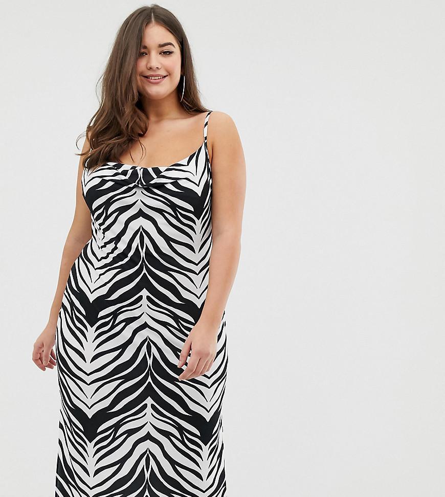 5d84252c481d ASOS. Women's Blue Asos Design Curve Cowl Front Midi Slip Dress In Tiger  Print
