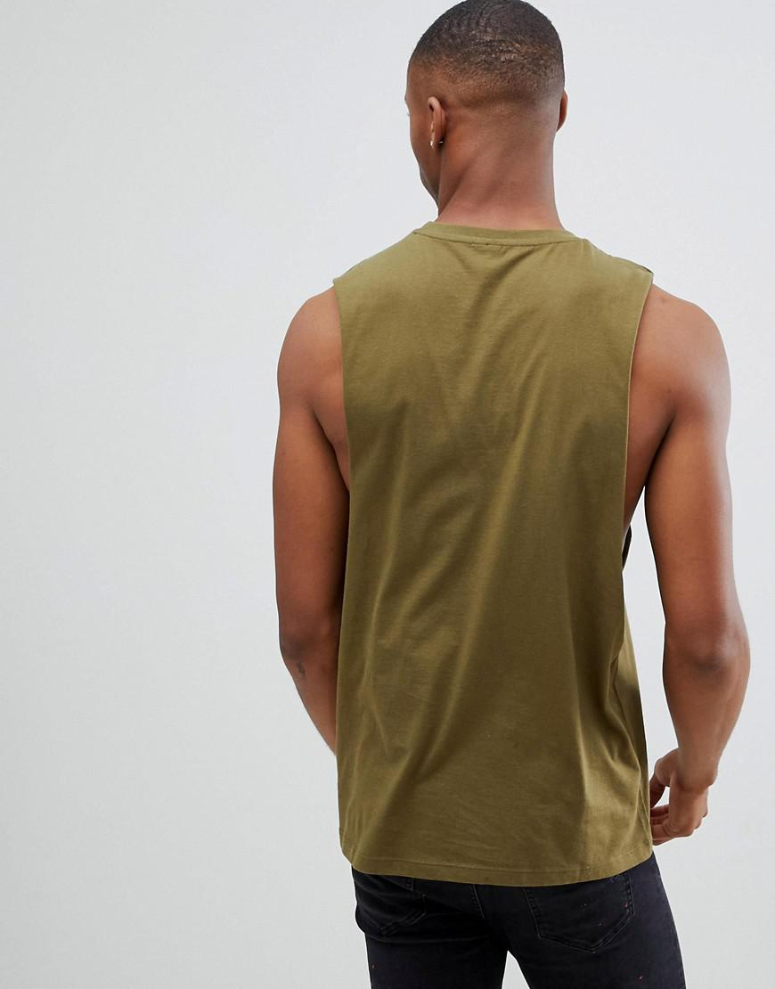 10c398b0d4657 Lyst - ASOS Relaxed Sleeveless T-shirt With Dropped Armhole In Green in  Green for Men