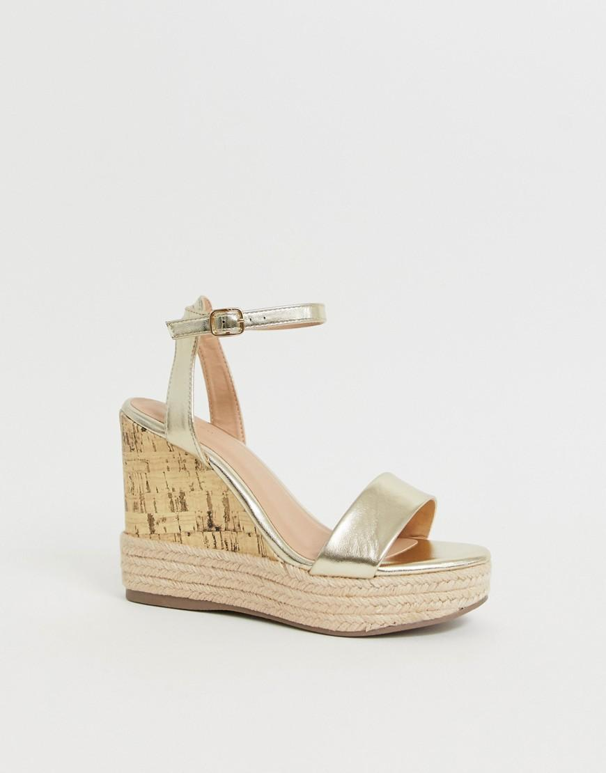 0eac2b23182 New Look Strappy Espadrille Wedge Sandal In Gold in Metallic - Lyst