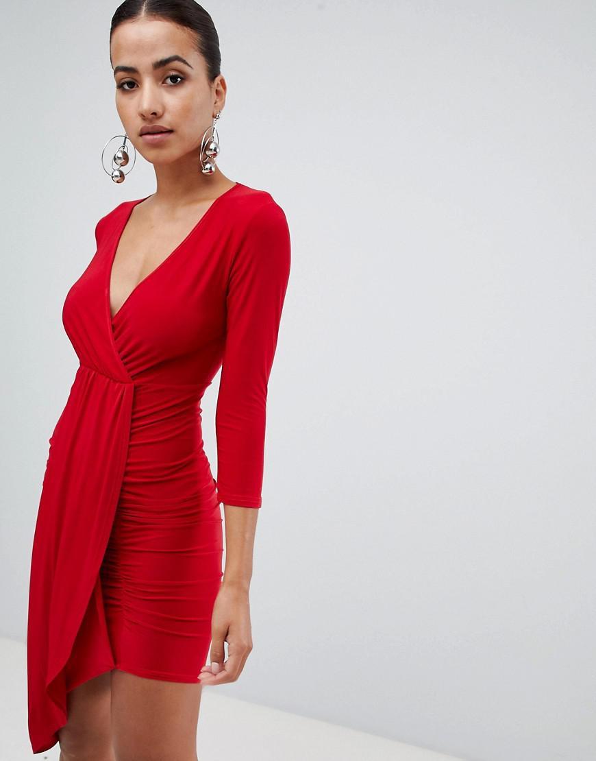 Club L Long Sleeve Wrap V Plunge Draped Dress in Red - Lyst 7a88b6ec3