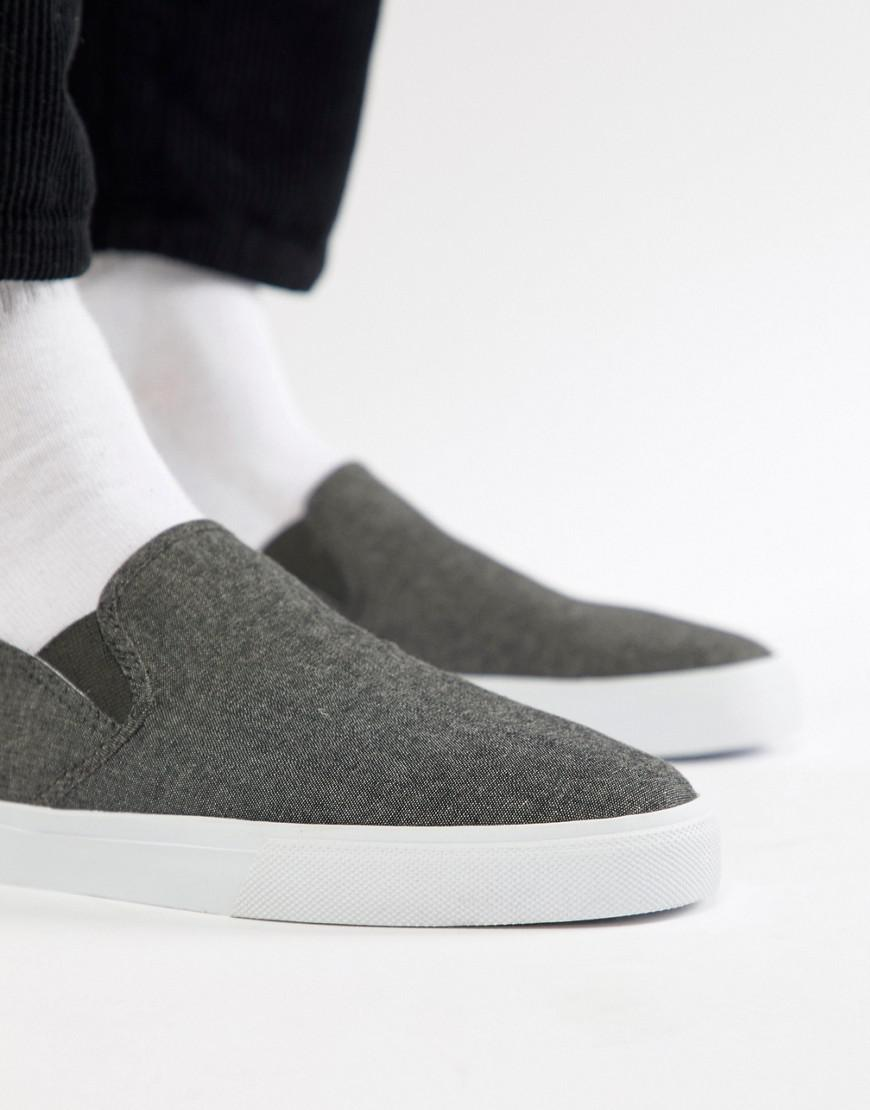 the cheapest cheap online ASOS DESIGN Slip On Plimsolls In Black Chambray With Stampdown Heel exclusive cheap online LytL43cXed